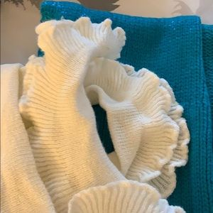 Knitted scarf bundle white and turquoise both new